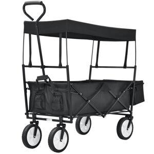 Skládací vozík s odnímatelnou střechou a pytlem černý