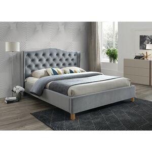 Čalouněná postel ASPEN VELVET 180 x 200 cm barva šedá / dub