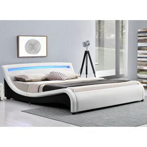 """Čalouněná postel,, Malaga """"140 x 200 cm s LED panely na čele - bílá"""