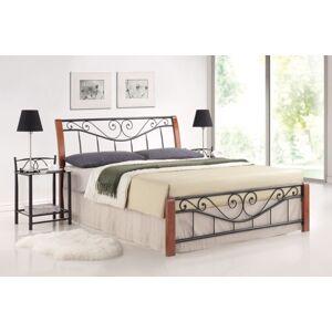 Dřevěná postel PARMA 140 x 200 cm antická třešeň / černá