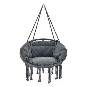 Houpací židle Cadras v antracitové barvě s podsedákem a opěradly