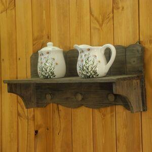 Nástěnná dřevěná polička s háčky 46cm