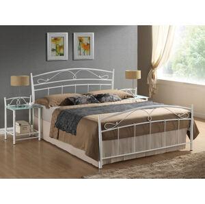 Kovová postel SIENA 140 x 200 cm barva bílá