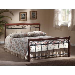 Kovová postel Venecja 140 x 200 cm antická třešeň / černá