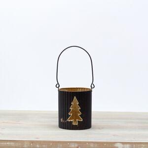 Svícen na čajovou svíčku strom 11cm, černo-zlatý